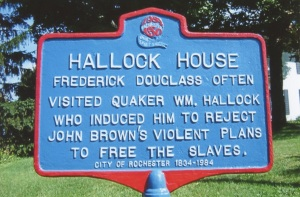 Frederick Douglass often visited Quaker William Hallock who induced him to reject John Brown's violent plans to free the slaves. City of Rochester Sesquicentennial Anniversary Celebration. Located on the northwest corner of Rush-Lima and Scolfield Roads.